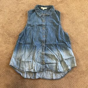 Distressed Ombré Denim Button Up Vest